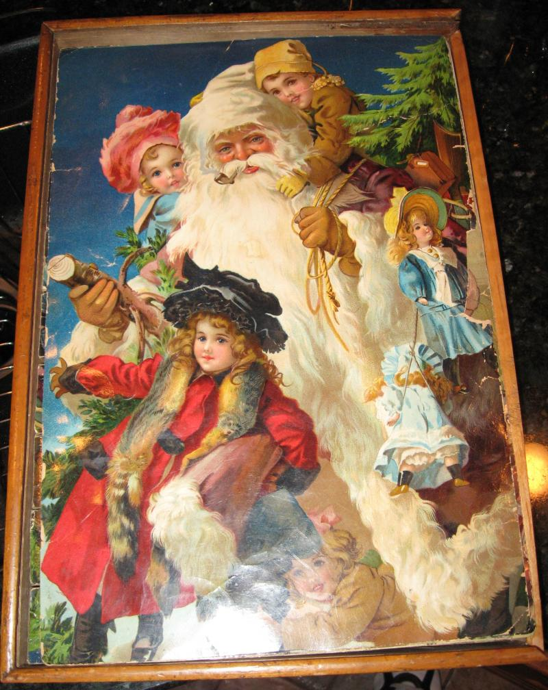 Santa / Christmas Blocks in Colorful Lithograph Box